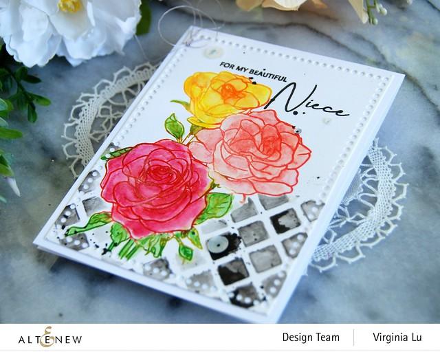 Altenew-PAF Rosa Floribunda-Watercolor Woodless Pencils-Trellis Stencil-Mix & Match Frame Die-002