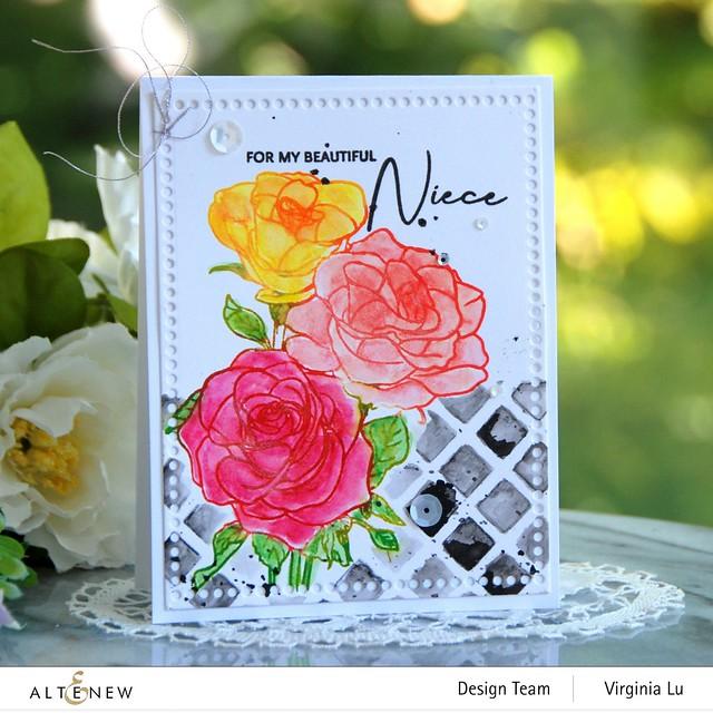 Altenew-PAF Rosa Floribunda-Watercolor Woodless Pencils-Trellis Stencil-Mix & Match Frame Die-001