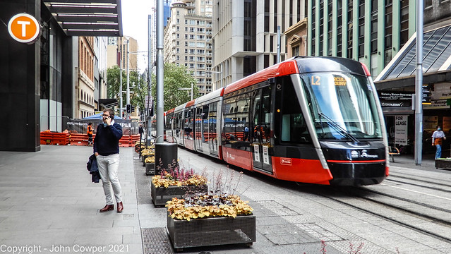 Sydney Light Rail - LRVs 2243 and 2244 at Wynyard heading for the Quay