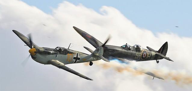 Hispano HA-1112 M4L Buchon Yellow 10 G-AWHK & RAF Supermarine Spitfire two-seater T.9 trainer version MkIX PV202 G-CCCA 5R-H