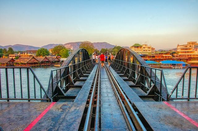 The infamous railway bridge over the River Kwai in Kanchanaburi, Thailand