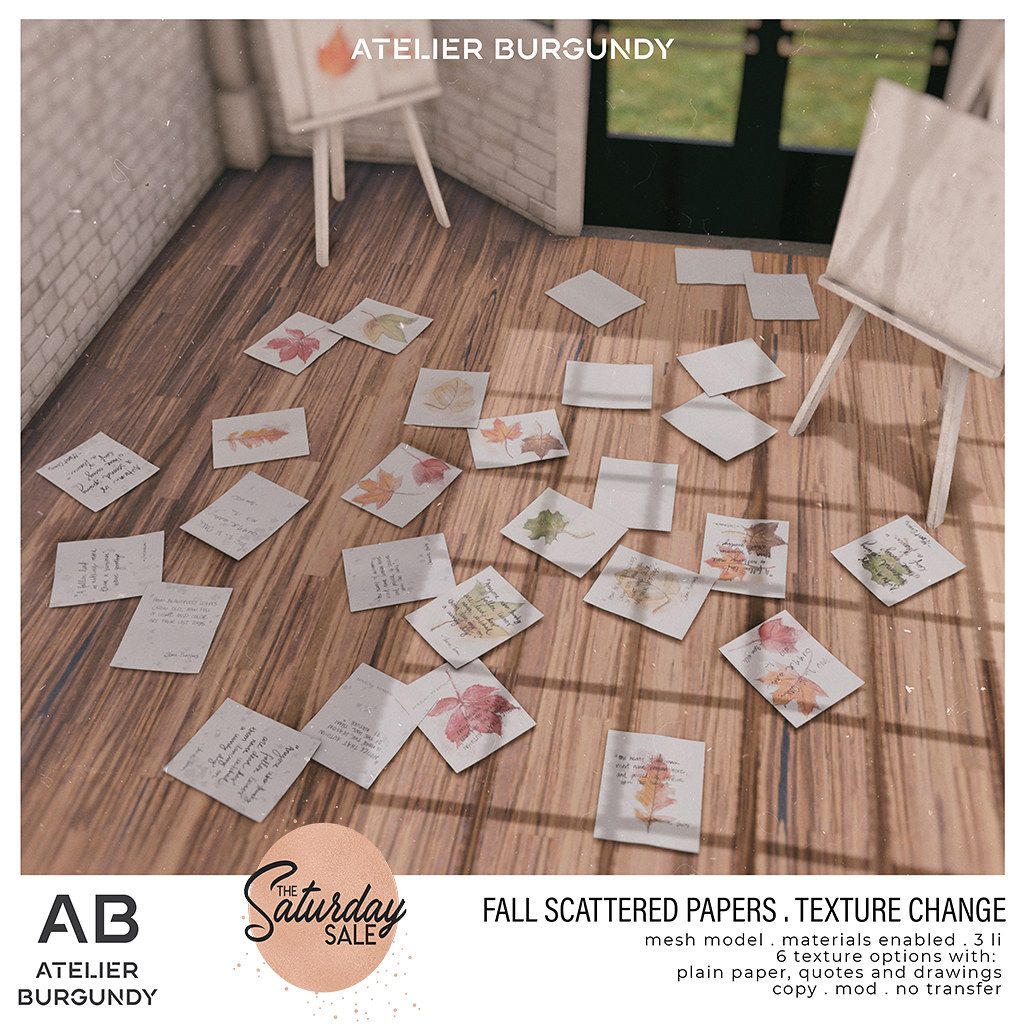 Atelier Burgundy . Fall Scattered Papers TSS