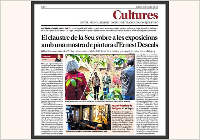 CLAUSTRE DE LA SEU DE MANRESA-DOS EXPOSICIONES AL MISMO TIEMPO-DOCUMENTOS-PRENSA-RECUERDOS-HISTORIAL-ARTISTA-PINTOR-ERNEST DESCALS-