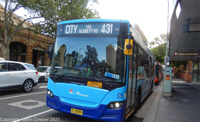 Sydney Buses - MO 8359 - Sydney's Electric Bus at Pitt Street and Rawson Place - No 1