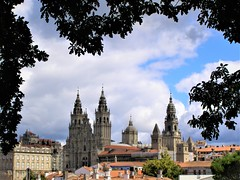 Santiago de Compostella Cathedral seen from the park.
