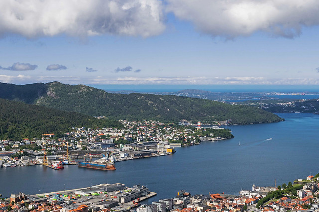 View of Bergen and its harbour from Mount Floein