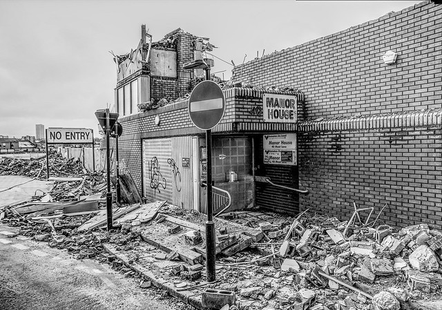 What used to be the front entrance to  the Manor House Office Block,    (not any more it isn't)
