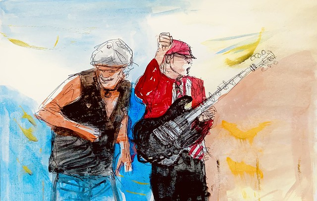 AC/DC. Brian Johnson,and Angus Young. Ballpoint pen drawing with gouache watercolour , by jmsw on stretched paper.