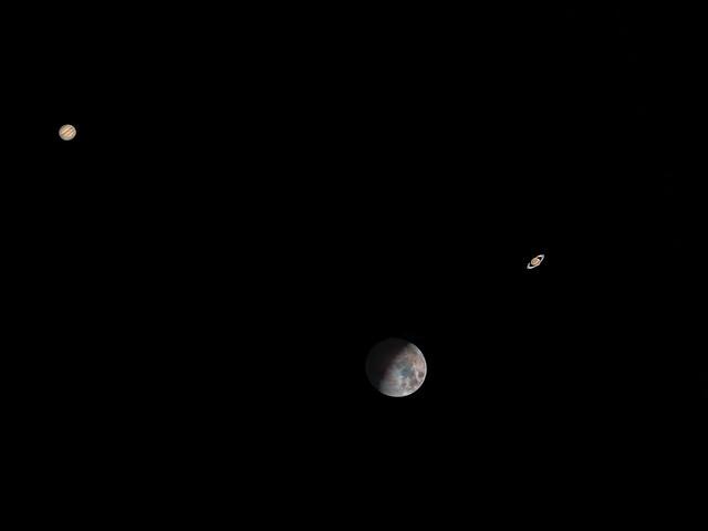 Jupiter Moon Saturn Triangle ( Composite image )