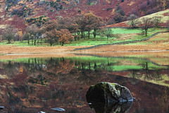 Colourful reflections in the still water of Blea Tarn