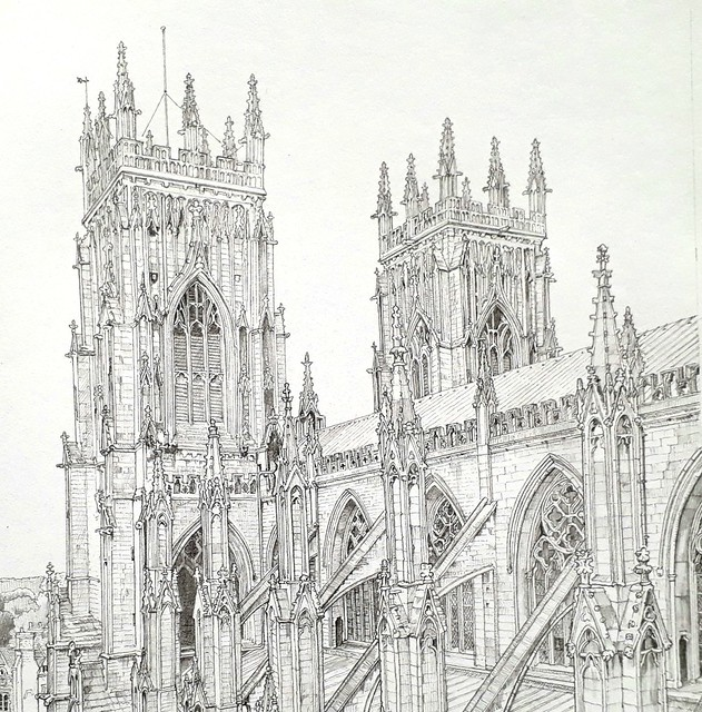 The Two Towers, York Minster: Detail of the towers