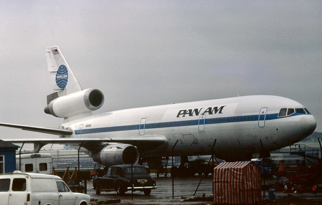 N80NA Pan Am McDonnell Douglas DC-10-30 seen in the Pan Am maintenance area at London Heathrow