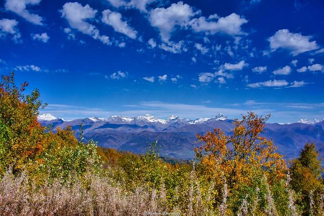 View of the Main Caucasian Ridge from South Ossetia.  Neighborhoods of Tskhinval.