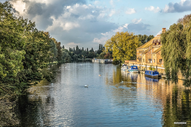 Great Ouse River from St. Neot's Bridge, Cambridgeshire, England.