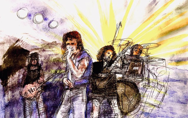 Last stage of 3. Bon Scott singing with AC/DC. Ballpoint pen drawing and gouache watercolour painting by jmsw on stretched paper.