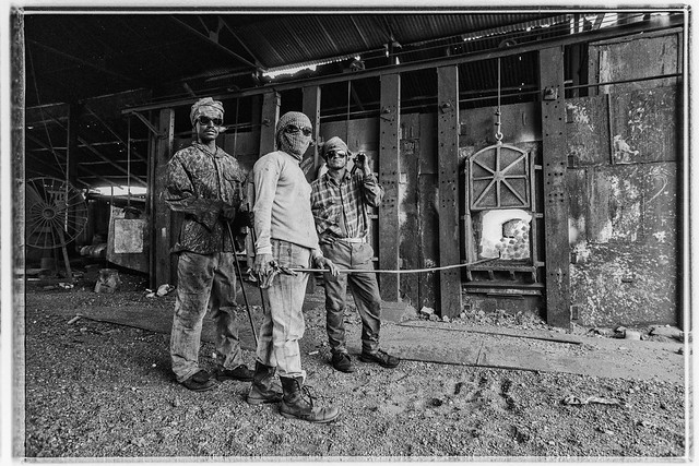 Steel mill workers near Demra