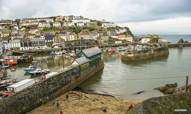 Colourful Mevagissey Harbour in Spring, Cornwall, England.