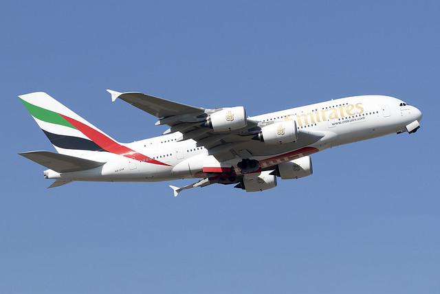 Emirates A380 A6-EVP at Heathrow Airport LHR/EGLL