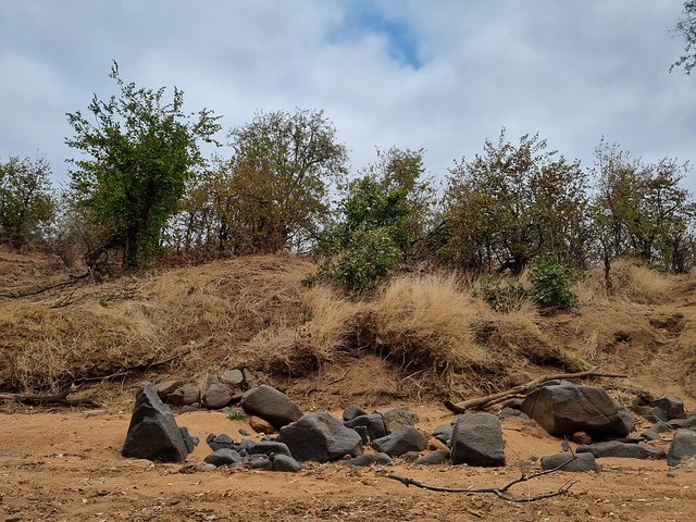 Rocks along the dry Riverbed