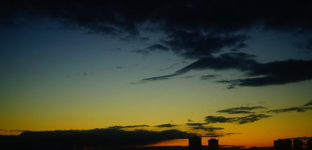 city dusk through vintage lens without retouch
