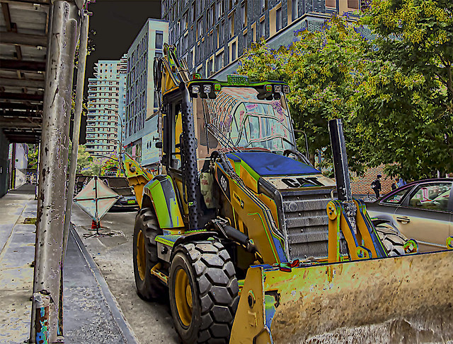 Street Scene and Construction Equipment on Clinton Street LES NYC