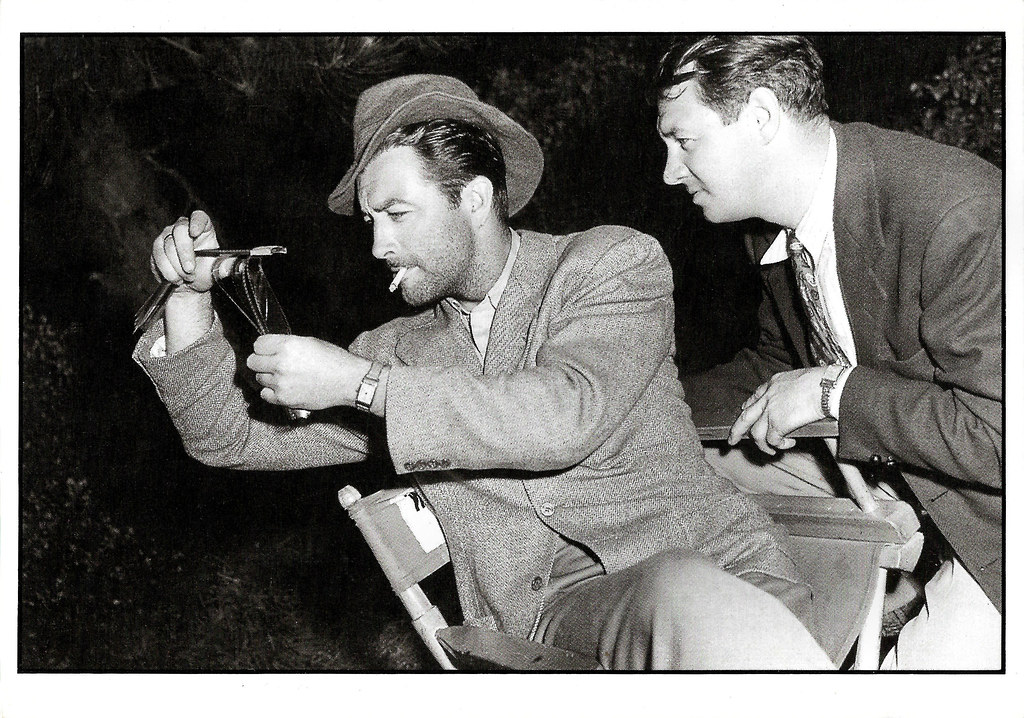 Robert Taylor and Harry Stradling at the set of Song of Russia (1943)