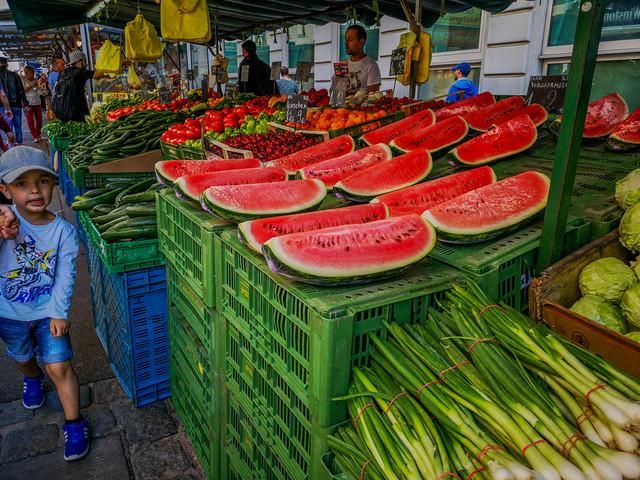 At an open market.