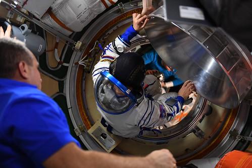 Entering the Soyuz