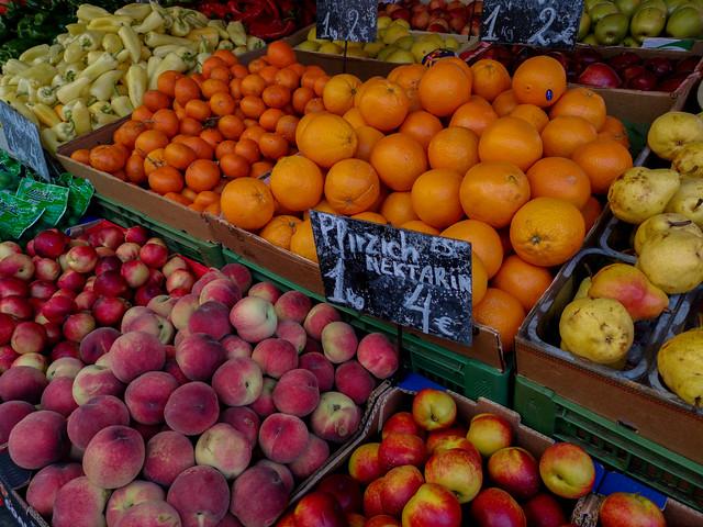 Fresh fruits in an open market.