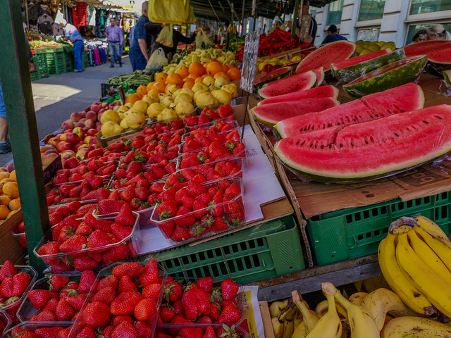 The colorful atmosphere in an open market.