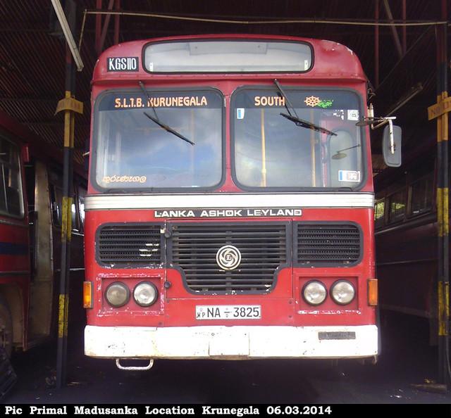 NA-3825 Kurunegala South Depot Ashok Leyland - Viking 222 Hino Power B+ type bus at Kurunegala in 06.03.2014