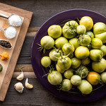 ingredients for pickled green tomatoes