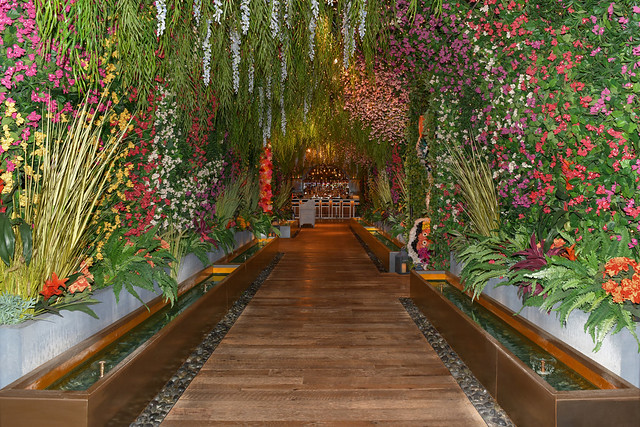 Nevada USA September 6, 2021 This is the entrance to the elegant Catch restaurant located in the ARIA Las Vegas forming a tunnel decorated with artificial flowers and plants