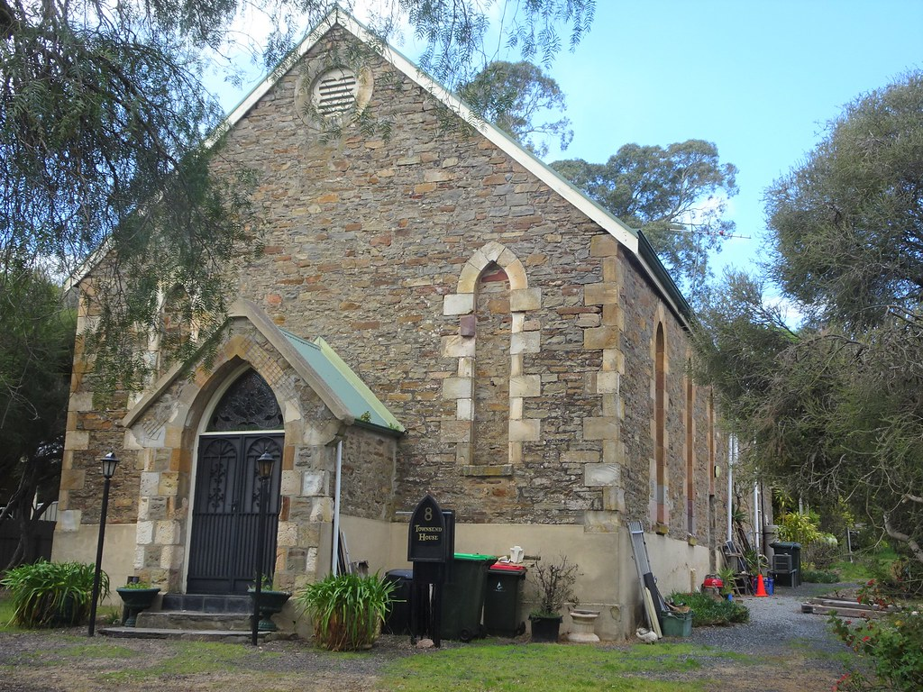 Mount Pleasant. SA. Adelaide Hills. Wesleyan Methodist Church built in 1867. Sold  in 1874 to be an Institute. Then sold to Presbyterian Church 1928 as a hall. Became private house in 1978.   (2)