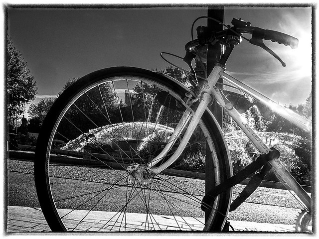 Par un matin ensoleillé, un vélo enchainé... / On a sunny morning, a chained bike...