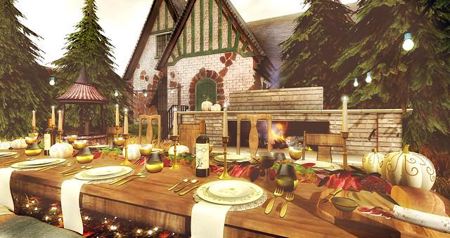 Cozy warm autumn dining
