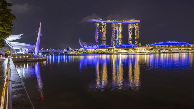 Night Reflections of Landmarks in Marina Bay