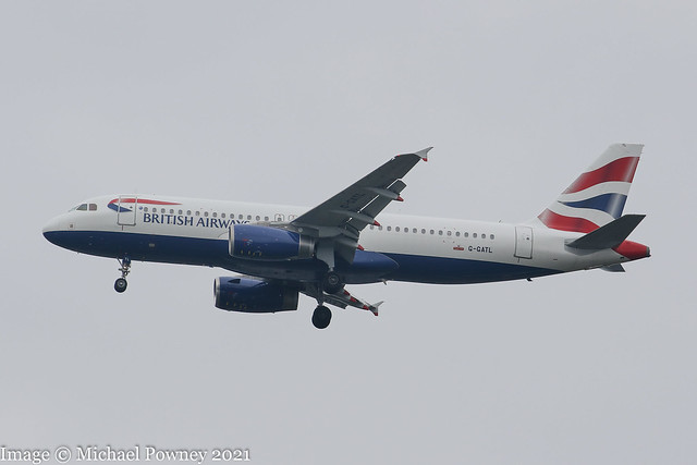 G-GATL - 2002 build Airbus A320-233, on approach to Runway 23R at Manchester