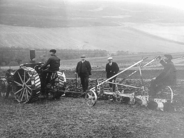 An 8-16 IHC Mogul and Sellars plough at work near Huntly  World War 1.
