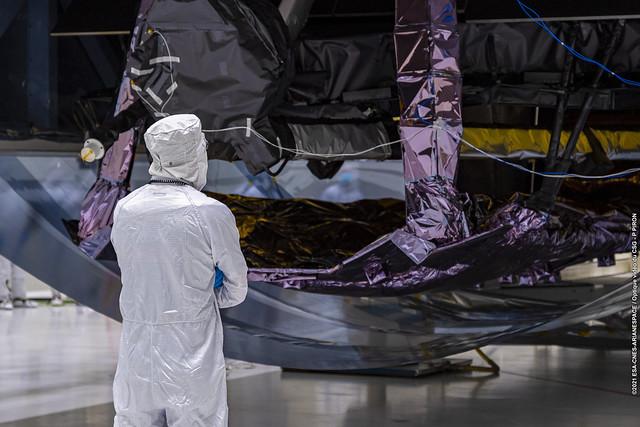 Webb telescope unboxed at Europe's Spaceport