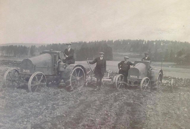 Two International 8-16 Juniors on demonstration to local farmers circa 1919 from George Sellar & Son Huntly.