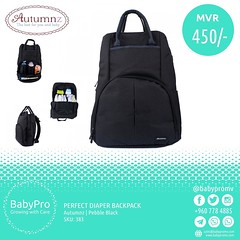 Autumnz u2013 PERFECT Diaper Backpack u2013 Pebble Black Features: Large main compartments with one zipper pocket, 1 elasticized pocket and 3 mesh pockets for easier organisation Large exterior front zippered pocket with 2 insulated bottle holder, elasticized str