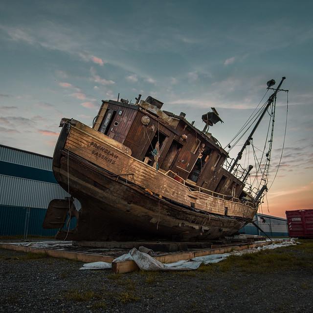 Salvaged ship on land