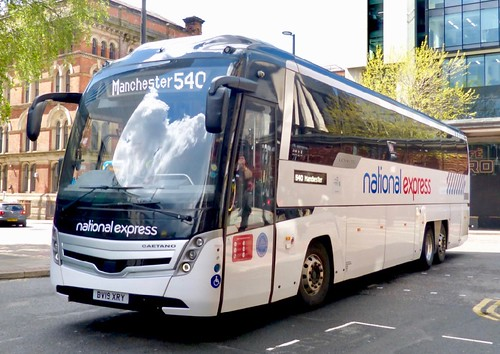 BV19 XRY 'Selwyns Travel, Runcorn' No. 333 'national express'. Scania K410EB6 / Caetano Levante III on Dennis Basford's railsroadsrunways.blogspot.co.uk'