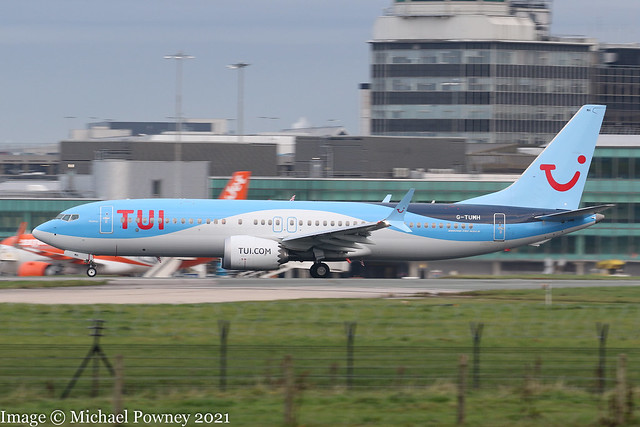G-TUMH - 2019 build Boeing B737-MAX 8, rolling for departure on Runway 23R at Manchester