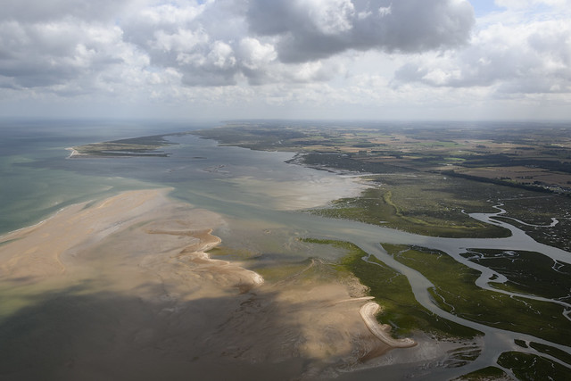 Blakeney is ahead & Stiffkey is on the right - north Norfolk coast aerial image