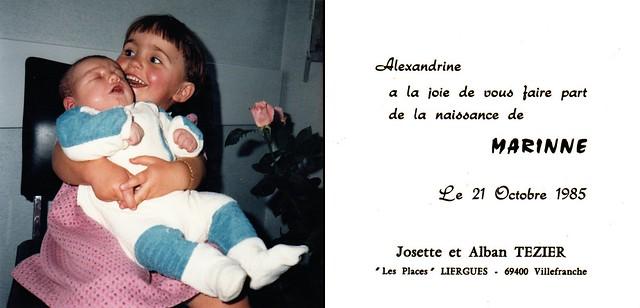 Faire part de naissance, 21 octobre 1985