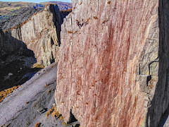 Climbing in the slate quarry