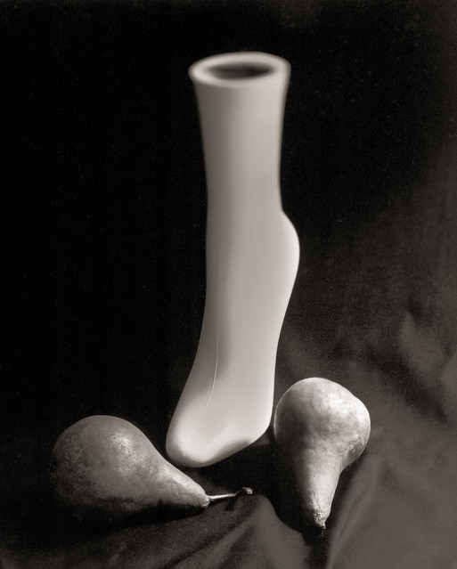 Still life with pears and shoe model