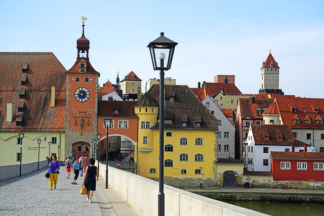 Morning walk across the bridge, Regensburg, Germany